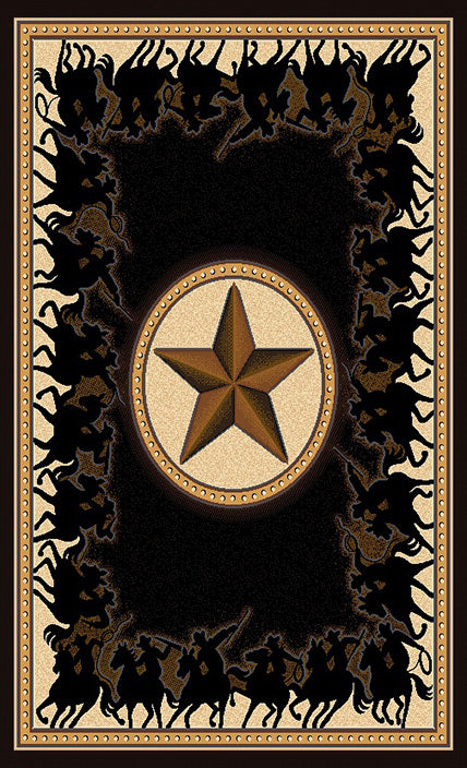 Lone Star Riders Black Rug Collection - 4 Sizes to Choose From!