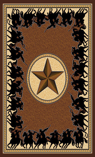 Lone Star Riders Chocolate Rug Collection - 4 Sizes to Choose From!