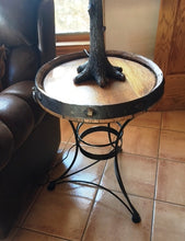 Load image into Gallery viewer, Tequila Barrel Top Tall End Table with Iron Base