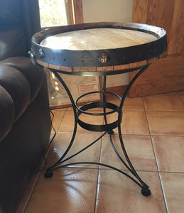 Tequila Barrel Top Tall End Table with Iron Base