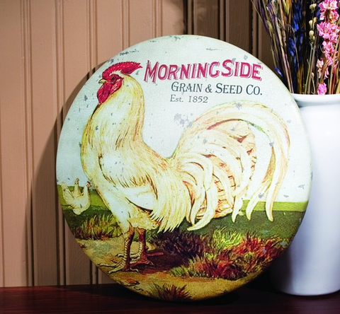 Domed Round Tin Rooster Sign