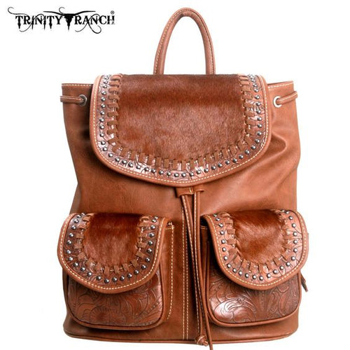 Western Leather & Cowhair Backpack - Brown