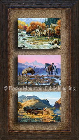 """Down to the Wire"" Western Framed Canvas Triple Print"