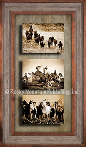"""Let er' Buck"" Western Framed Canvas Triple Print"