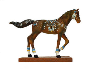 """Trail of Turquoise"" Painted Horse Sculpture"