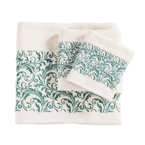"""Wyatt"" Western 3-Piece Bath Towel Set with Turquoise Embroidered Scroll"