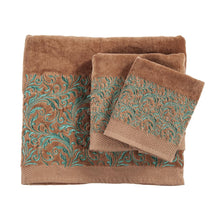 "Load image into Gallery viewer, ""Wyatt"" Western 3-Piece Bath Towel Set with Turquoise Embroidered Scroll"