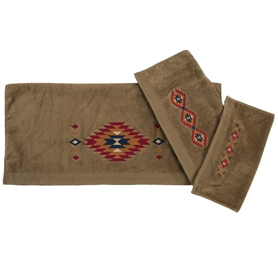 Del Sol 3-Piece Bath Towel Set - Mocha