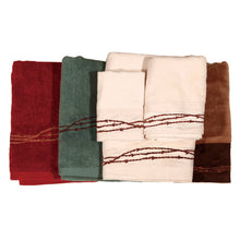 "Load image into Gallery viewer, ""Embroidered Barbwire"" Western 3-Pc. Towel Set"