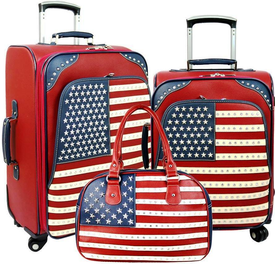 American Pride  3-PC Luggage Set - Red