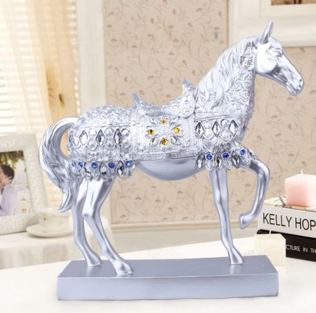 Silvery Trotting Horse Bling Sculpture