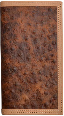 Western Rustic  Brown Ostrich Print Rodeo Wallet