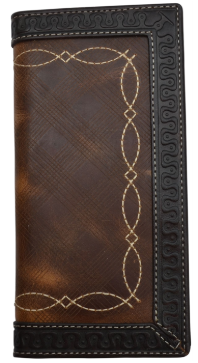 Brown Leather Western Rodeo Wallet with Fancy Stitch