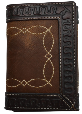Brown Leather Western Tri-Fold Wallet with Fancy Stitch