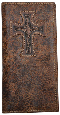 Western Distressed Brown Crackled Rodeo Wallet with Cross