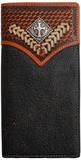 Black and Tan Western Rodeo Wallet with Cross Concho