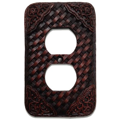 Basketweave/Tooled Resin Outlet Plate Cover