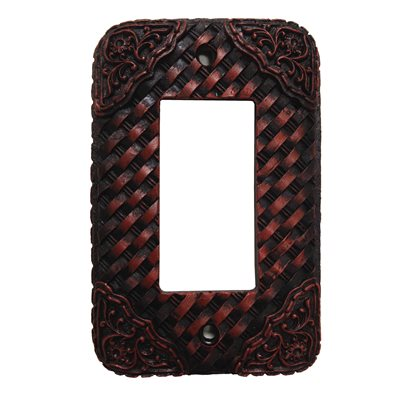 Basketweave/Tooled Resin Single Rocker Plate Cover