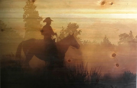 """Sunset"" Western Printed Wooden Plank - 26"" x 15"""