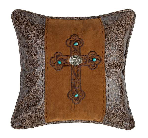 Abilene Western Embroidered Cross Pillow - 20""