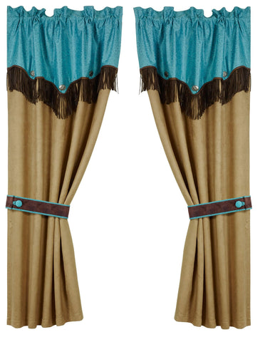 Odessa Western Turquoise Curtains WS1004C – Wild West Living