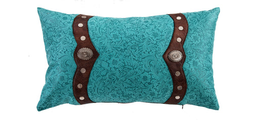 Odessa Western Turquoise Oblong Pillow with Conchos - 24