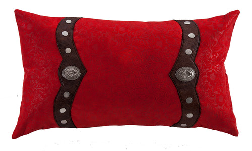 Odessa Western Red Oblong Pillow with Conchos - 24