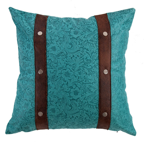 Odessa Western Turquoise Square Pillow - 18