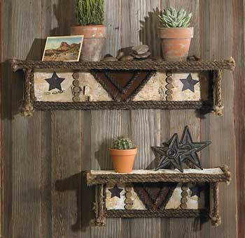 Rugged Western Horizontal Shelves - Set of 2