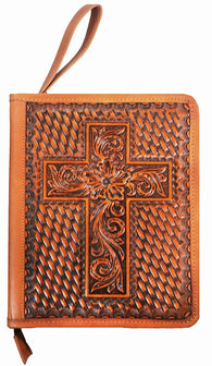 Twisted-X Western Tooled & Basketweave Leather Bible Cover