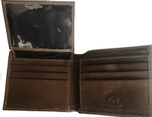 Load image into Gallery viewer, Twisted-X Brown Distressed Bi-Fold Wallet with Turquoise Embroidered Logo