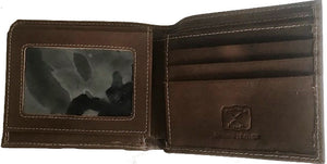 Twisted-X Brown Distressed Bi-Fold Wallet with Turquoise Embroidered Logo
