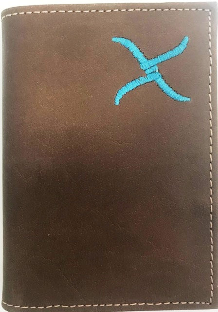 Twisted-X Brown Distressed Tri-Fold Wallet with Turquoise Embroidered Logo