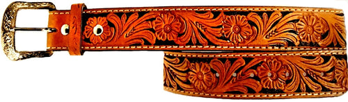 Twisted-X Black & Tan Tooled Leather Men's Belt