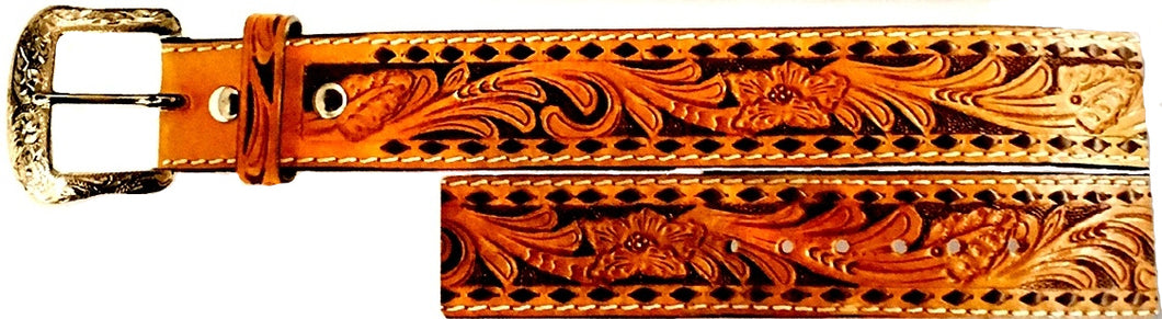 Twisted-X Brown & Tan Tooled Leather Men's Belt