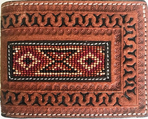 Western Aztec Beaded Bi-Fold Twisted-X Wallet