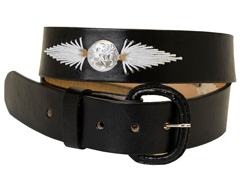 Black Leather Belt with White Stitching and Conchos