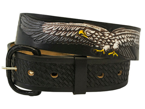 Eagle Black Leather Belt with Conchos