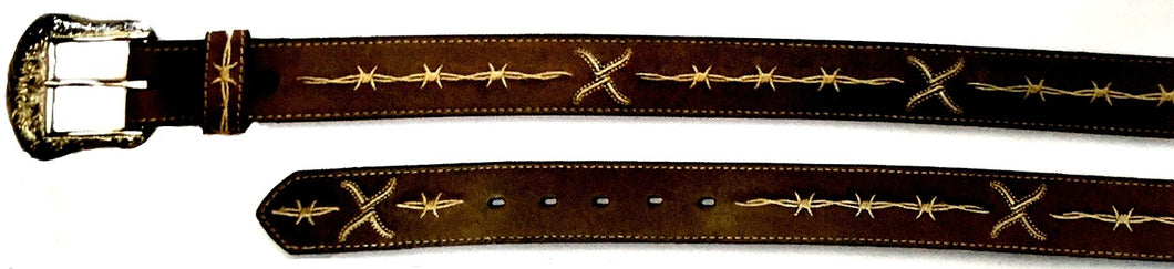 Twisted-X Brown Leather Belt with Natural Embroidery