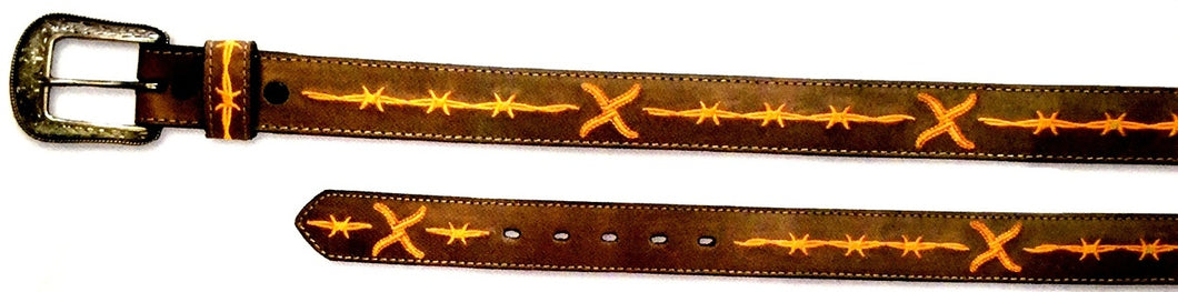Twisted-X Brown Leather Belt with Orange Embroidery