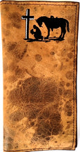 Load image into Gallery viewer, Twisted-X Medium Brown Distressed Rodeo Wallet with Praying Cowboy