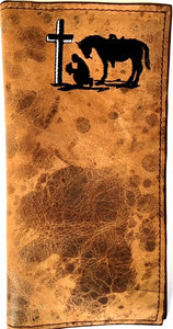 Twisted-X Medium Brown Distressed Rodeo Wallet with Praying Cowboy