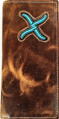 Twisted-X Distressed Brown Rodeo Wallet with Blue Embroidered Logo