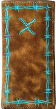 Load image into Gallery viewer, Twisted-X Distressed Brown Rodeo Wallet with Turquoise Trim