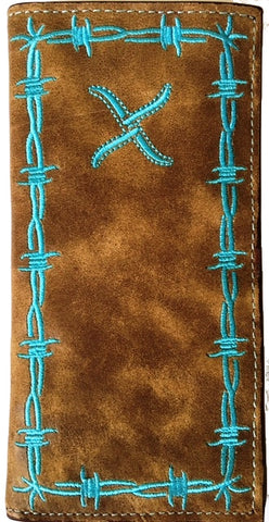 Twisted-X Distressed Brown Rodeo Wallet with Turquoise Trim