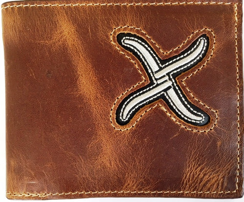 Twisted-X Brown Leather Bi-Fold Wallet with Silver Embroidered Logo