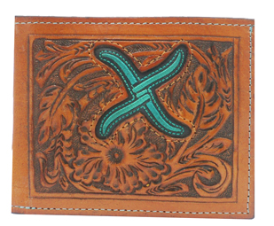 Twisted X Tan Tooled Bi-Fold Wallet with Turquoise Logo