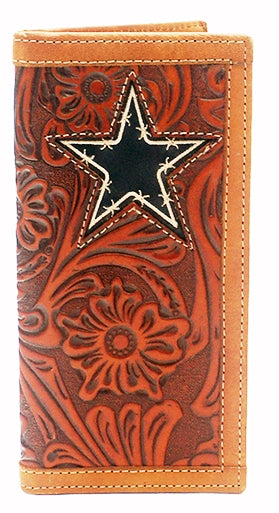 Twisted-X Tooled Tan Rodeo Wallet with Barbwire Star