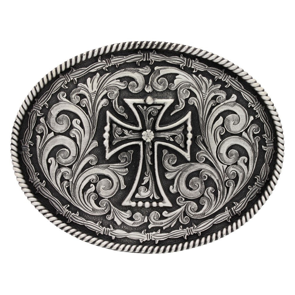 Western Barbed Wire Silver Cross Belt Buckle