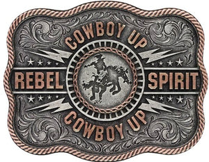 Two Tone Scalloped Cowboy Up 'Rebel Spirit' Bronc Rider Belt Attitude Buckle